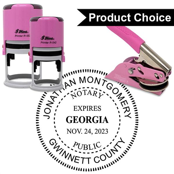 Georgia Notary Pink with Expiration - Round Design