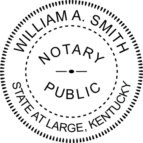Kentucky Notary Pink - Round Design Imprint Example