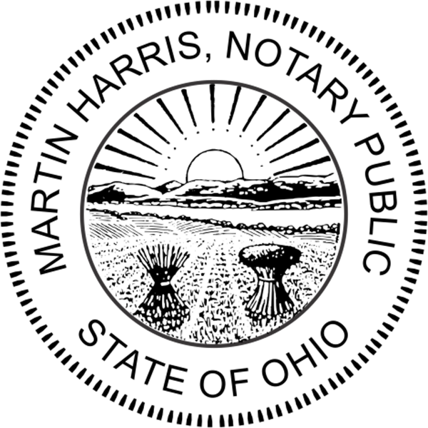 Ohio Notary Pink - Round Design Imprint Example