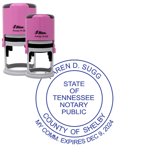 Tennessee Notary Pink Stamp With Date Below - Round Design