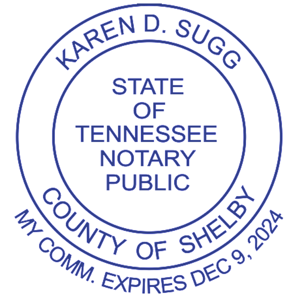 Tennessee Notary Pink Stamp With Date Below - Round Design Imprint Example
