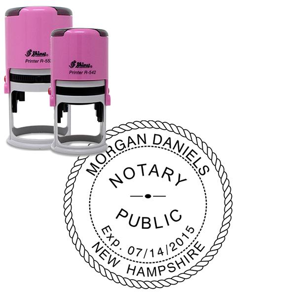 New Hampshire Notary Pink Stamp - Round Design