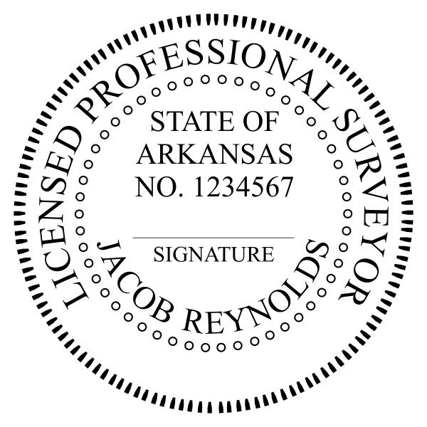 State of Arkansas Land Surveyor Seal Stamp Imprint