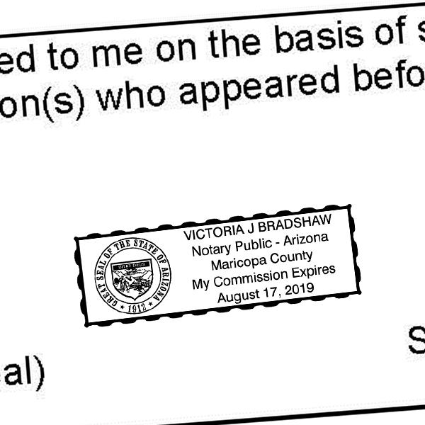 Arizona Notary Rectangular Stamp Imprint