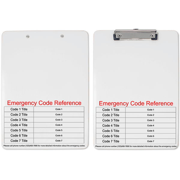 Emergency Code Reference Clipboard