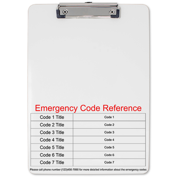 Emergency Code Reference Clipboard Front
