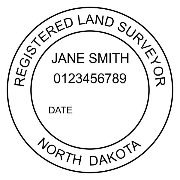 State of North Dakota Land Surveyor Imprint