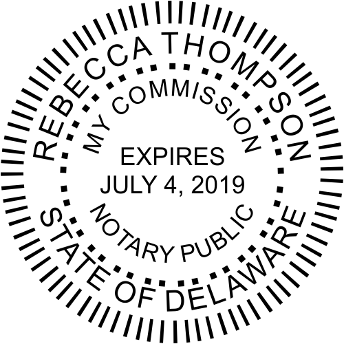 Official Delaware Notary Public Round Stamp Seal
