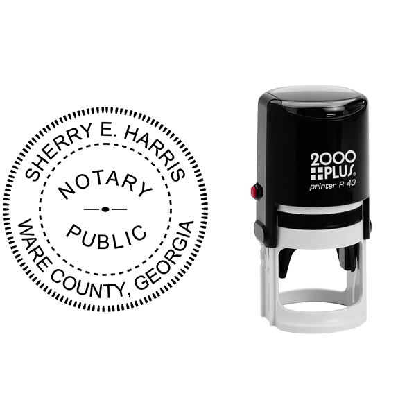 Georgia Round Notary Public Stamp Seal Body and Design