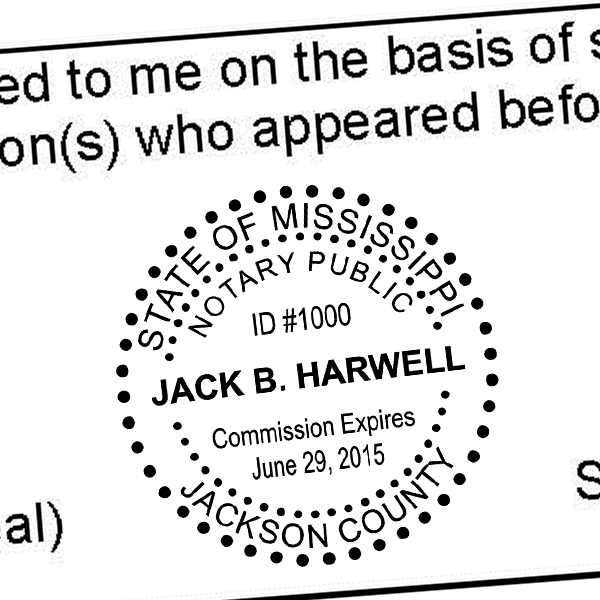 Mississippi Notary Round - Dots Imprint