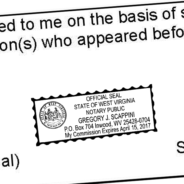 West Virginia Notary Rectangle Imprint