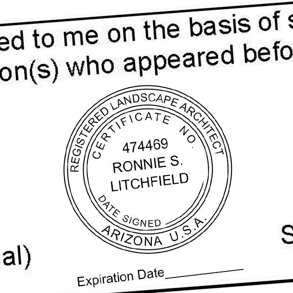 State of Arizona Landscape Architect with Expiration