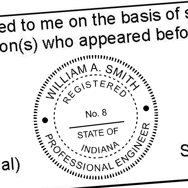 State of Indiana Engineer Seal Seal Imprint