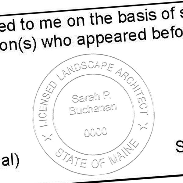 State of Maine Landscape Architect Embosser Seal Imprint
