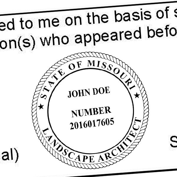 State of Missouri Landscape Architect Seal Imprint