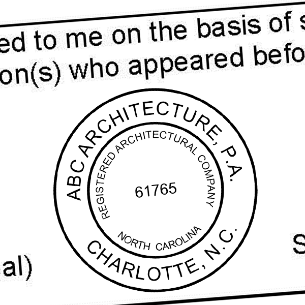 State of North Carolina Architectural Firm Seal Imprint