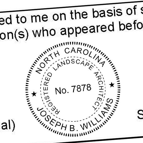 State of North Carolina Landscape Architect Seal Imprint
