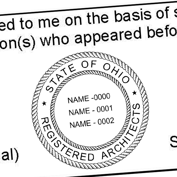 State of Ohio Architect Three Names Seal Imprint