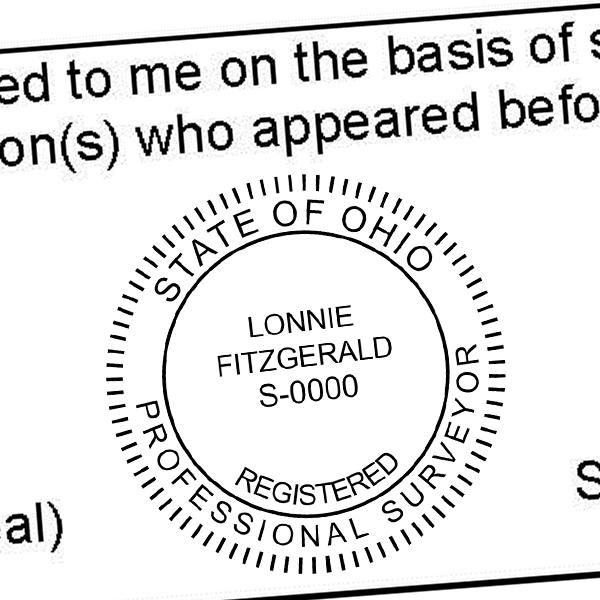 State of Ohio Land Surveyor Stamp Seal Imprint