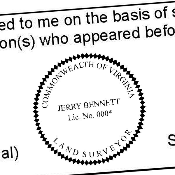 State of Virginia Land Surveyor Seal Imprint