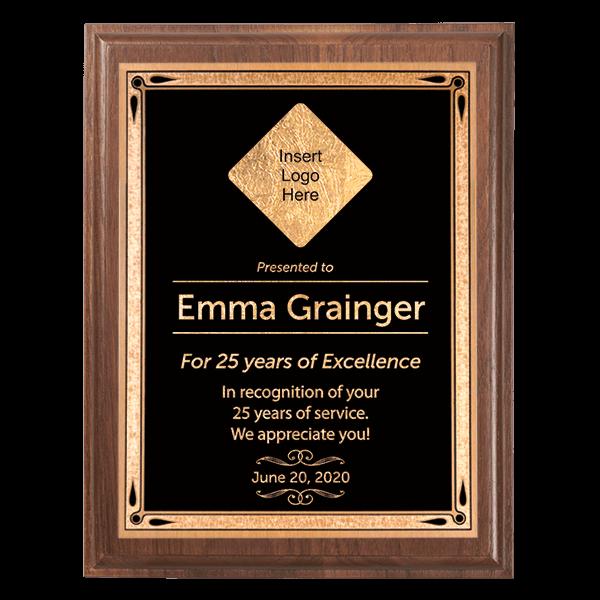 Career Recognition 5 x 7 Walnut Plaque