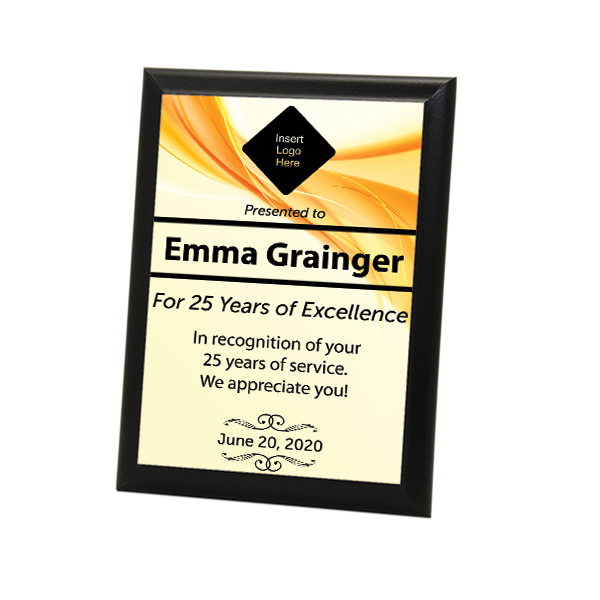 """Career Recognition Full Color 5"""" X 7"""" Photo Plaque with Black Edge"""