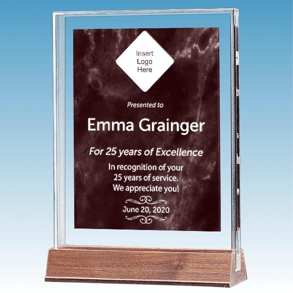 Career Recognition Marble Ruby Polished Acrylic Award on Walnut Base