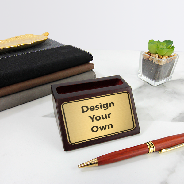 Custom Mahogany Business Card Holder with Engraved Insert