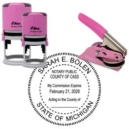 Michigan Round Pink Notary Seal