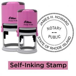 Rhode Island Round Pink Notary Seal