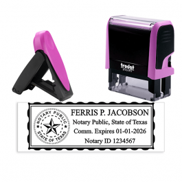Texas Pink Rectangle Notary Stamp