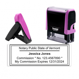Vermont Pink Rectangle Notary Stamp