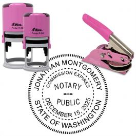 Washington Round Pink Notary Seal