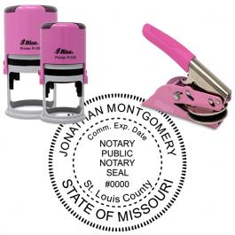 Missouri Round Pink Notary Seal