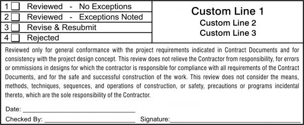 Plan & Blueprint Stamp - Shop Drawing Review Horizontal
