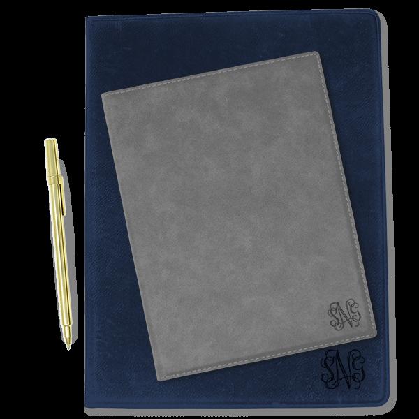 Corner Monogram Leatherette Portfolio