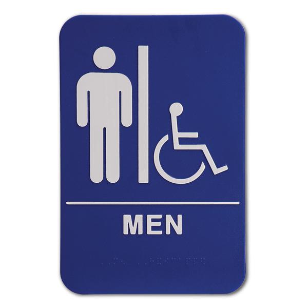 "Blue Men's Handicap ADA Braille Restroom Sign   9"" x 6"""