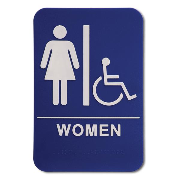 "Blue Women's Handicap ADA Braille Restroom Sign | 9"" x 6"""