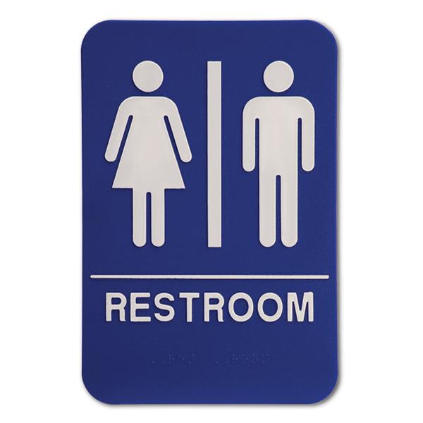 "Blue Unisex ADA Braille Restroom Sign | 9"" x 6"""