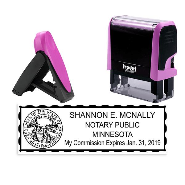 Minnesota Notary Pink Stamp - Rectangle