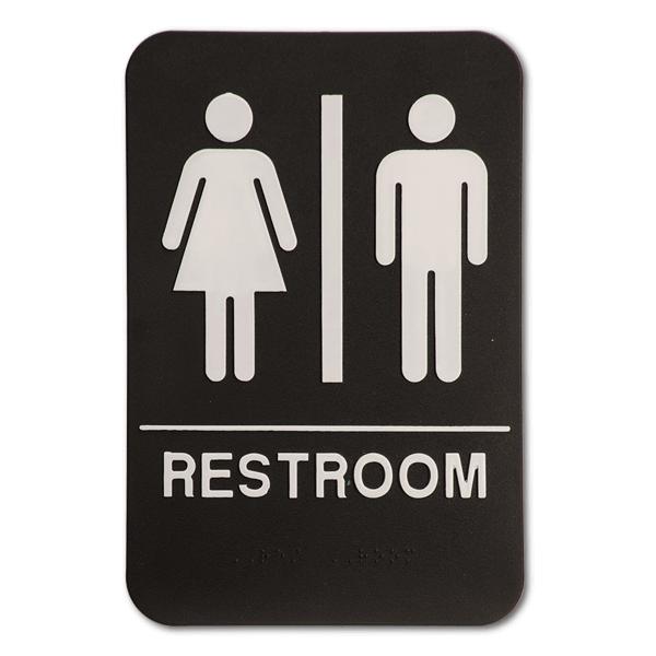 "Black Unisex ADA Braille Restroom Sign   9"" x 6"""