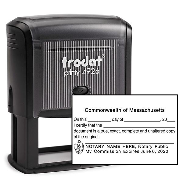 Massachusetts CERTIFIED TRUE COPY Notary Stamp