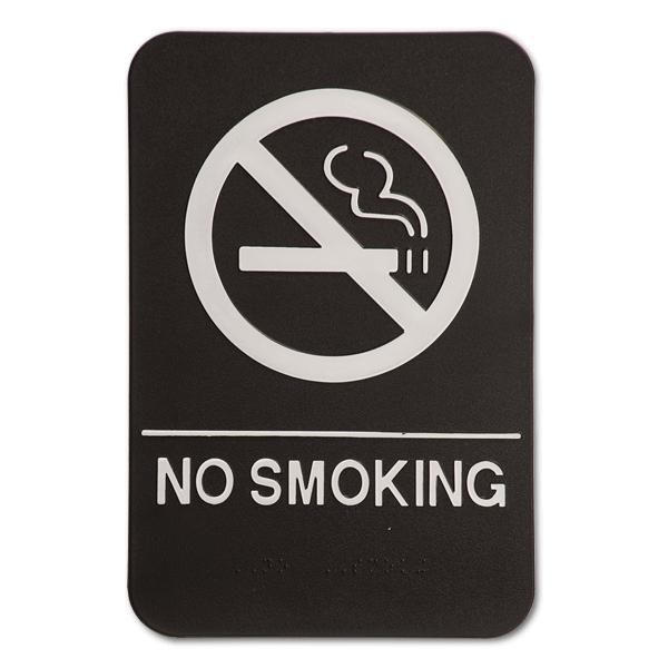 Black No Smoking Sign ADA Braille Sign