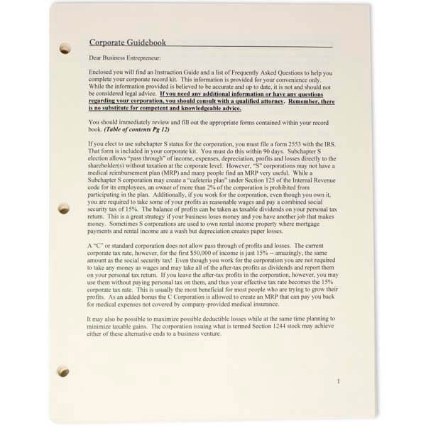 Corporate Printed Minutes & Bylaws for All States