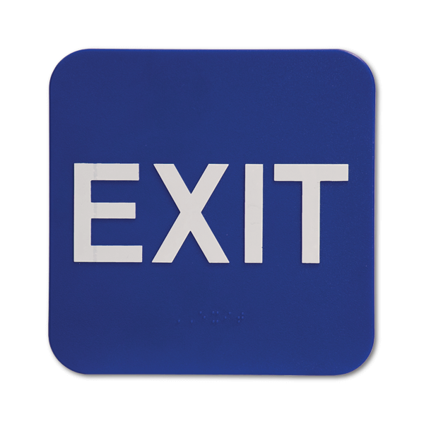 """Blue Exit ADA Braille Sign 