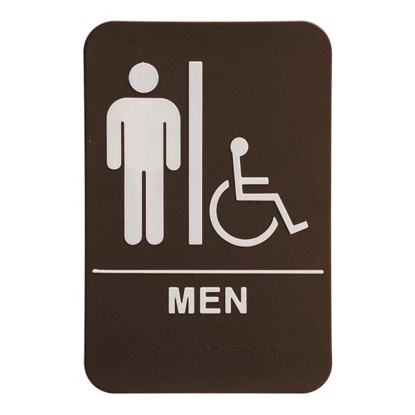 """Brown Men's Handicap ADA Braille Restroom Sign   9"""" x 6"""""""
