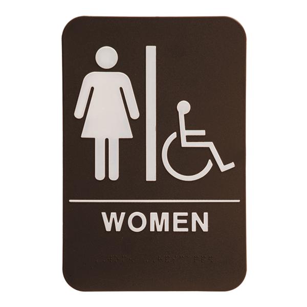 "Brown Women's Handicap ADA Braille Restroom Sign   9"" x 6"""