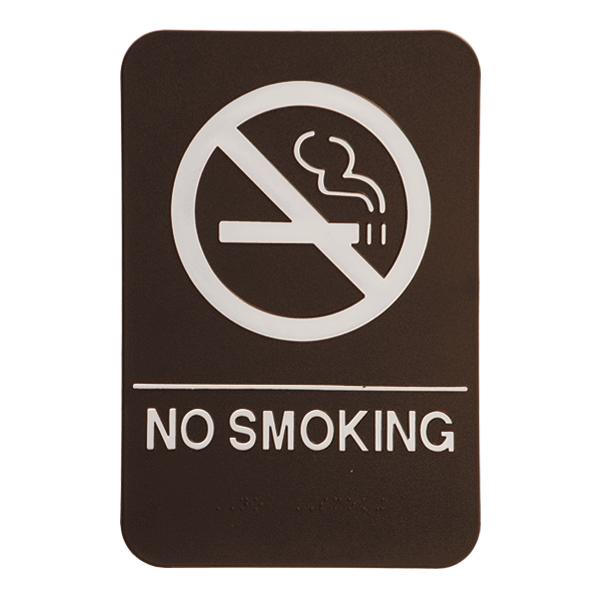 Brown No Smoking ADA Braille Sign