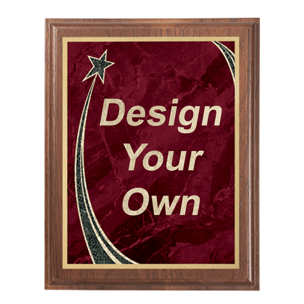 """Walnut 8"""" x 10"""" Plaque with Step Edge & Rising Star Plate"""