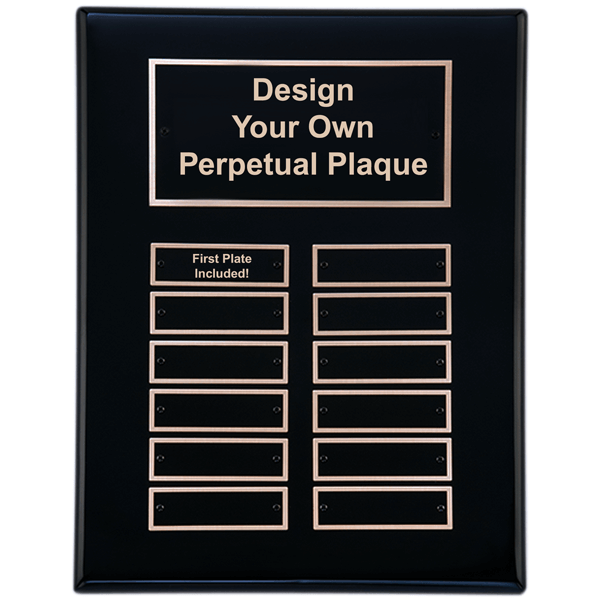 """Black Piano Finish 9"""" x 12""""  Perpetual Plaque with 12 plates"""